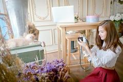 女孩击中与一只逗人喜爱的猫 免版税库存照片