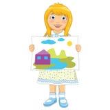 女孩绘画传染媒介例证 免版税库存图片