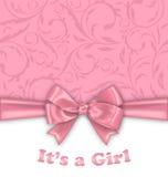 女孩婴儿送礼会与桃红色弓的邀请卡片 向量例证