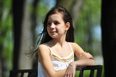 女孩头发少许长的纵向 库存照片