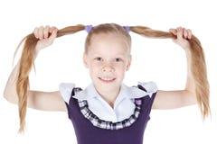 女孩头发少许长的纵向 免版税库存图片