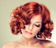 女孩头发的相当红色 图库摄影