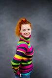 女孩头发的红色 免版税库存图片