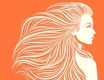 女孩头发长性感 免版税库存图片