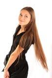 女孩头发长的纵向 库存照片