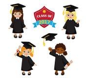 女孩 套毕业褂子和灰泥板的孩子 库存图片