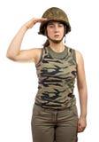 女孩致敬战士 免版税库存图片