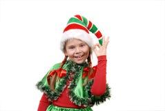 女孩-显示标志OK的圣诞老人矮子 免版税库存图片
