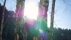 女孩从树的后面投掷雪球 雪冬天风景 晴朗的日 股票视频