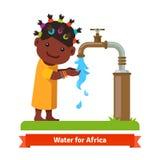 女孩洗涤的手 缺水标志 图库摄影