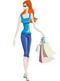 女孩去购物 免版税图库摄影