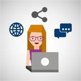 女孩玻璃用户膝上型计算机份额地球 免版税库存照片