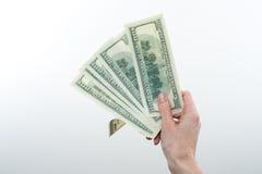 女孩说10000美元手中 免版税库存图片