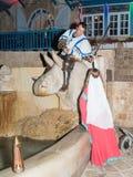 女孩-耶路撒冷俱乐部的骑士的成员,打扮在中世纪夫人的传统服装,递交剑给kn 免版税库存照片