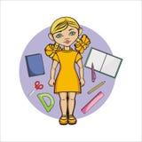 女孩以黄色 免版税库存照片
