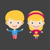 女孩画象乐趣愉快的男孩年轻表示逗人喜爱的少年漫画人物小孩传染媒介例证 皇族释放例证