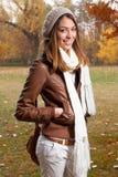 女孩画象在秋天 库存图片