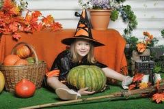女孩画象巫婆服装的 图库摄影