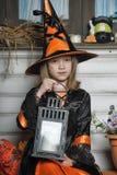 女孩画象巫婆服装的 库存图片