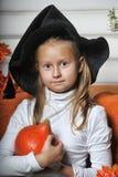 女孩画象巫婆服装的 库存照片