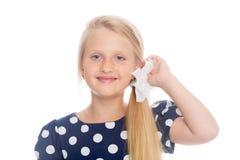 女孩画象有白色弓的 免版税库存照片