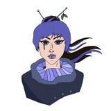 女孩画象有蓝色头发的在日本式 免版税库存图片