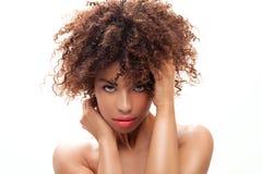 女孩画象有非洲的 免版税库存照片