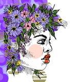 女孩画象的抽象例证与一个花圈的在她的头 图库摄影