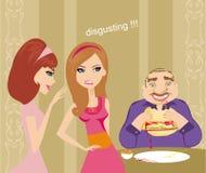 女孩说闲话关于肥胖人 免版税库存图片