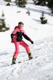 女孩滑雪者 图库摄影