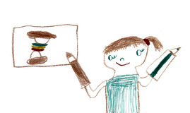 女孩画食物 库存照片
