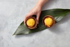 女孩` s手拿着椰子壳用在一片绿色叶子的一个芒果冰糕在灰色具体背景 顶视图 图库摄影