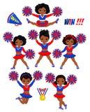 女孩Cheerleadears队  啦啦队欢呼一致的红色蓝色传染媒介例证 库存图片