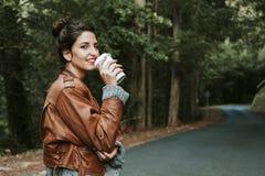 女孩coffe饮料 图库摄影