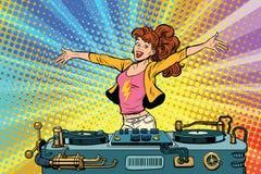 女孩DJ棍打党青年生活方式 库存例证