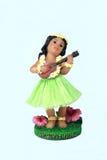 女孩hawaian使用的ukelele 免版税库存照片