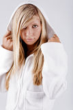 女孩hoodie佩带的白色 免版税库存照片