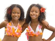 女孩hula孪生 图库摄影