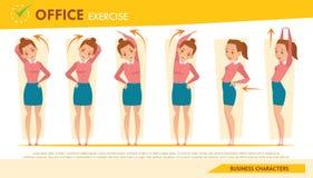 女孩infographic和舒展锻炼集合2的办公室综合症状 免版税库存图片