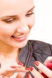 女孩iphone粉红色 免版税图库摄影