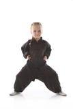 女孩karateka 免版税图库摄影
