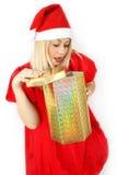 女孩klaus ・圣诞老人 免版税库存图片