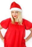女孩klaus ・圣诞老人 库存图片