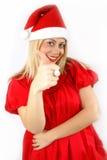 女孩klaus ・圣诞老人 免版税图库摄影