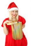 女孩klaus ・圣诞老人 库存照片