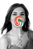 女孩lollypop 免版税图库摄影