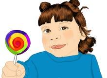 女孩lollypop 免版税库存照片