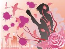 女孩musican粉红色上升了 免版税库存图片
