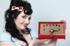 女孩pinup收音机 库存照片