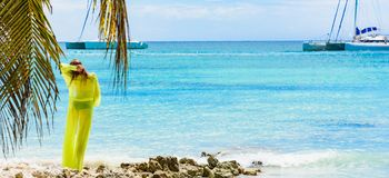 女孩poreo海棕榈树 库存图片